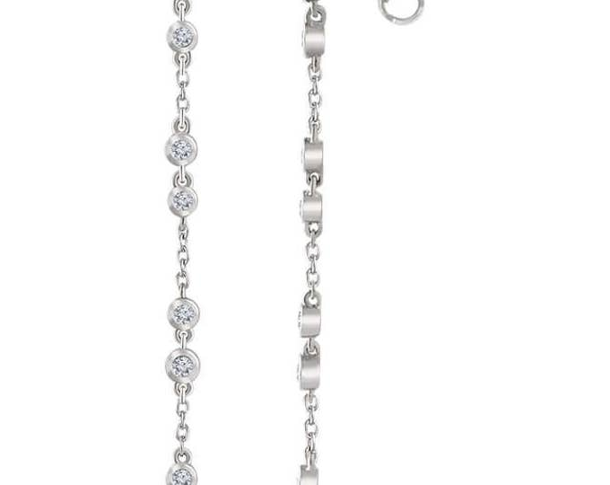 Gorgeous solid 14 Karat White, Rose or Yellow Gold 1/3 CTW Diamond Chain Earrings