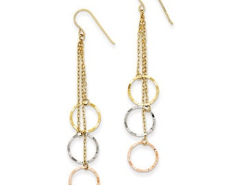 14 Karat Yellow, White & Rose Gold Tri-Color Faceted Circle Earrings