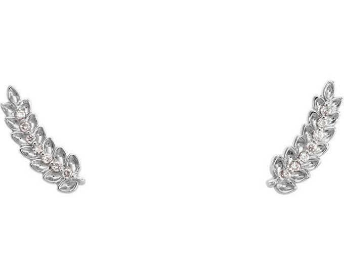 Gorgeous Custom Solid Sterling Silver , Platinum or 14 Karat Rose, White or Yellow Gold .040 Carat Diamond Leaf Ear Climber Earrings.