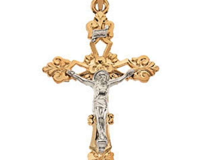 14 Karat Yellow & White Gold Crucifix Pendant
