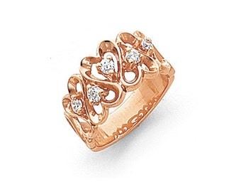 14k Rose Gold Polished AA Diamond heart ring