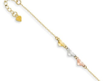 Beautiful Solid 14 Karat Tri-Gold Adjustable Heart Anklet