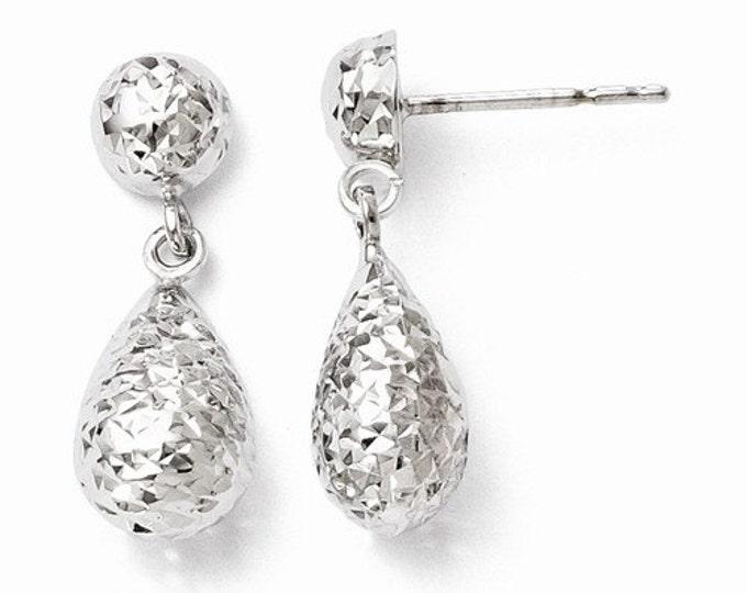 10k White or Yellow Gold Diamond-cut Post Dangle Earrings