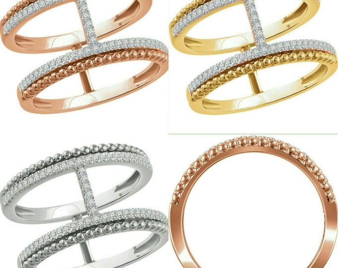 Beautiful Handcrafted 14 Karat White, Rose Or Yellow 1/5 CTW Diamond Negative Space Ring