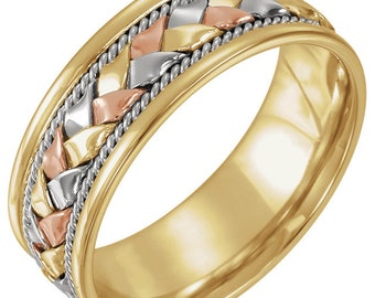 14 Karat Yellow, White & Rose Gold 8mm Comfort-Fit Woven Band