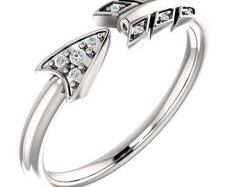 Stunning Platinum, 14 Karat White, Rose or Yellow Gold .040 CTW Diamond Arrow Ring.