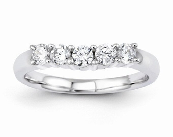 Beautiful 14 Karat White Gold 0.50 Carat Diamond Curved Wedding Band.