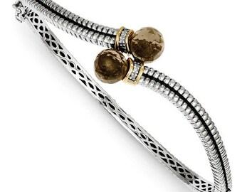 Beautiful 925 Sterling Silver w/14k Smoky Quartz & Diamond Bangle Bracelet