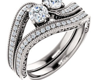Gorgeous Handcrafted 14 Karat White, Rose Or Yellow Gold 1.00 CTW Engagement Ring & Wedding Band Bridal Sets..