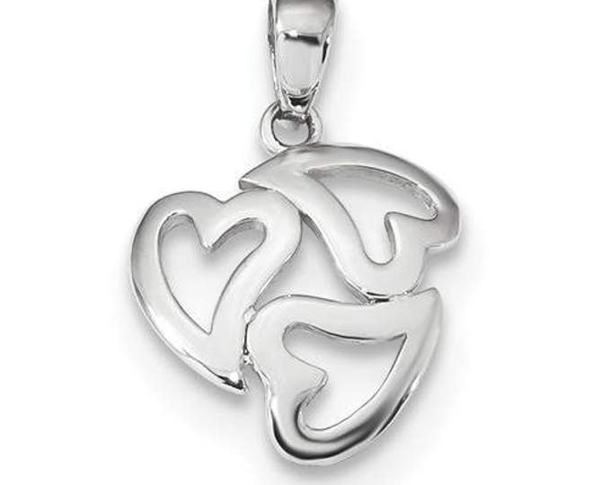 Custom Solid 14 Karat White or Yellow Gold Polished Cut-out 3-Heart Pendant.