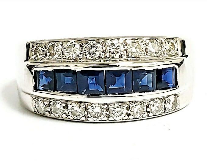 Custom 18K White Gold Princess Cut Blue Sapphire & Diamond Band/Ring. #VR56