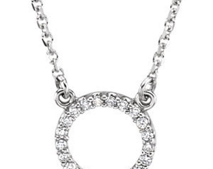 """Beautiful 14 Karat White, Yellow or Rose Gold 1/10 Carat Diamond Circle 16"""" Necklace"""