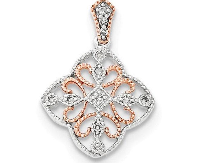 14 Karat White & Rose Gold Filigree Diamond Pendant