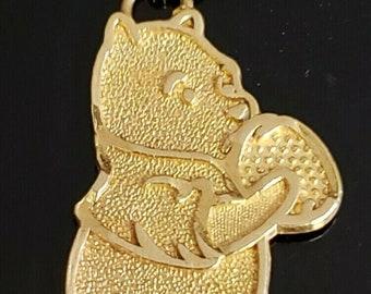 "Handmade 14 Karat Yellow Gold 36.50mm ""Winnie The Poo"" Charm Pendant. #MA02."