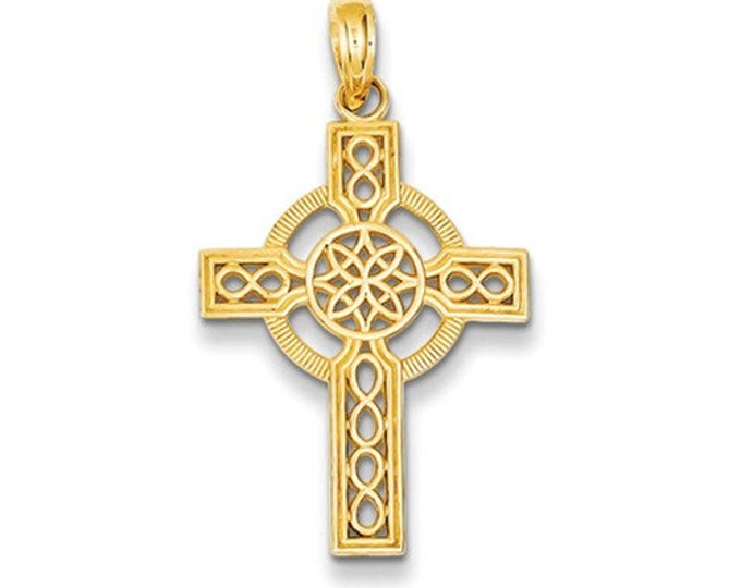 14 Karat Yellow Gold Diamond Cut Celtic Cross Pendant