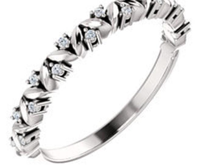 Custom 14 Karat White, Rose Or Yellow Gold .08 CTW Diamond Leaf Stackable Ring