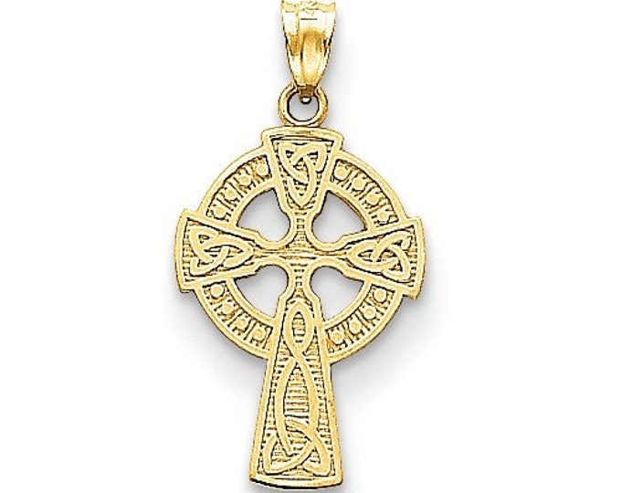 14 Karat Yellow Gold Celtic Cross Pendant