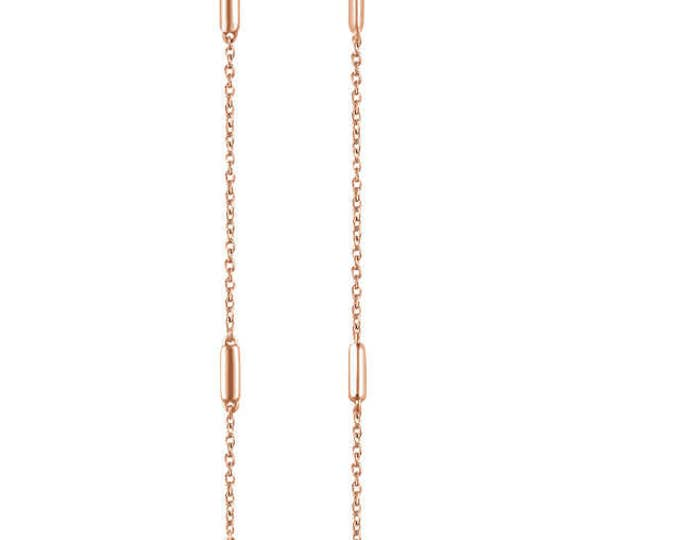 Gorgeous Solid 14 Karat White, Rose or Yellow Gold Bar Chain Earrings