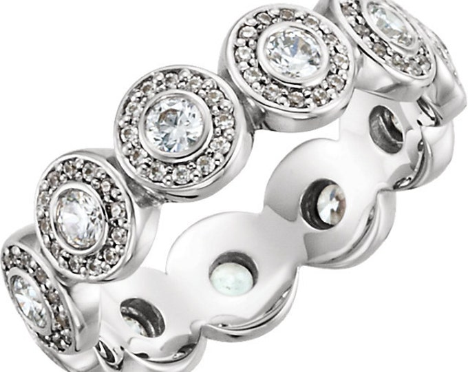 Stunning 14 Karat White Gold 7/8 CTW Diamond Halo-Styled Eternity Band