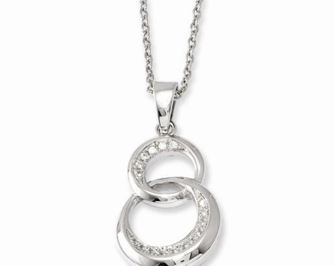"Gorgeous 925 Sterling Silver & CZ Brilliant Embers Polished Circle Pendant and 18"" Necklace."