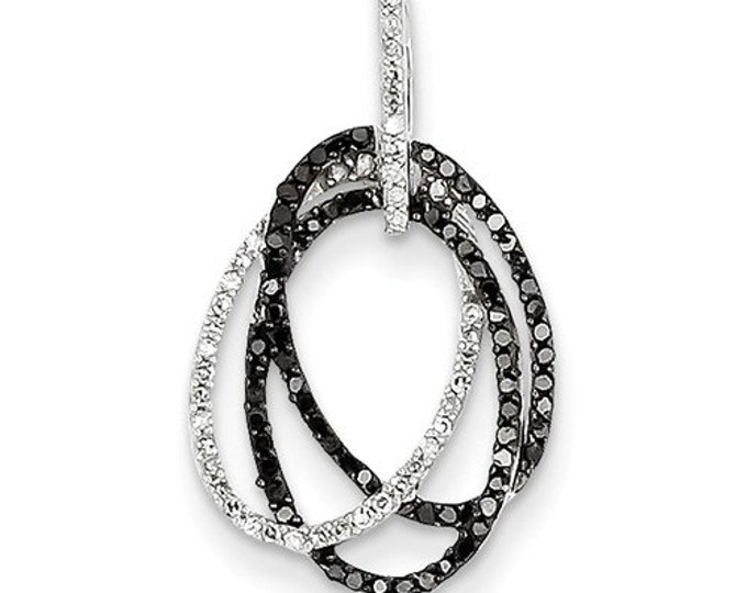 14  Karat White Gold White and Black Diamond Ovals Pendant