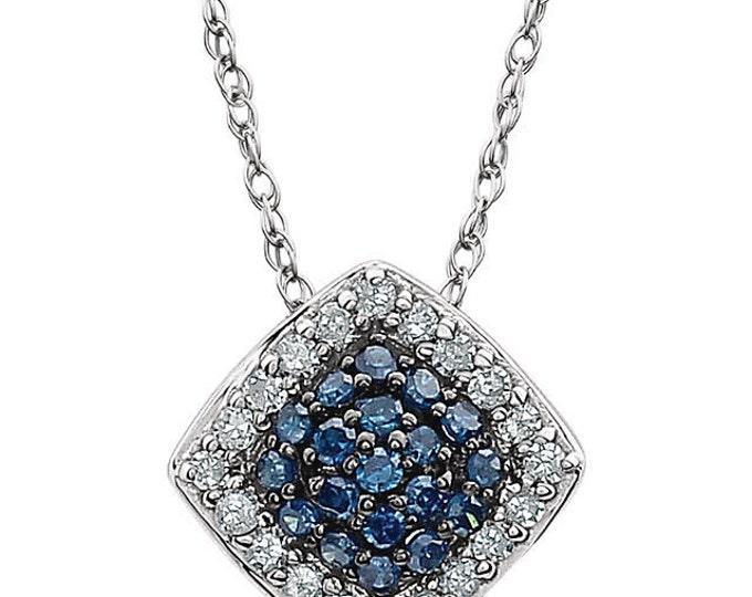 "Beautiful 14 Karat White Gold 1/6 Carat Blue & White Diamond Cluster 18"" Necklace"