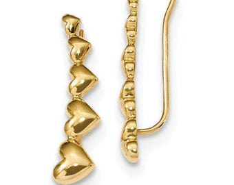 Gorgeous Custom Solid 14 Karat Yellow Gold Curved Heart Polished Ear Climber Earrings