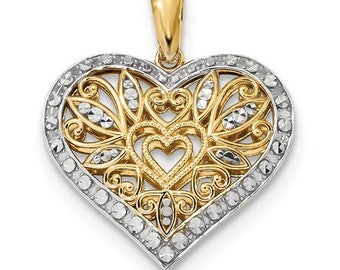 Gorgeous Solid 14 Karat Yellow and White Gold Polished & Diamond-cut Filigree Heart Pendant