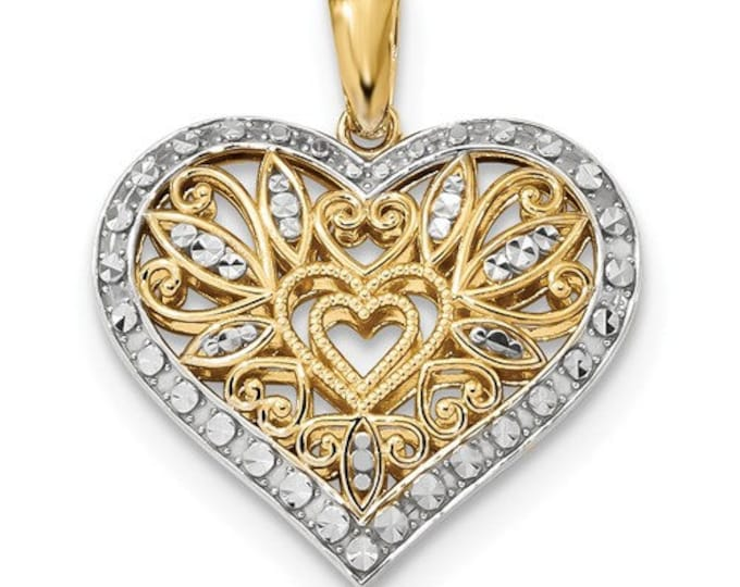 Gorgeous Solid 14 Karat Yellow and White Gold Polished & Diamond-cut Filigree Heart Pendant