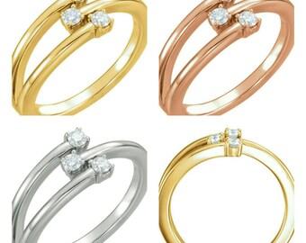 Beautiful Handcrafted 14 Karat White, Rose Or Yellow 1/5 CTW Diamond Freeform Ring
