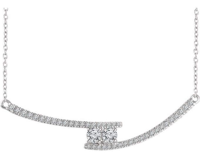 "Custom Handcrafted 14 Karat White, Yellow Or Rose Gold 3/8 CTW Diamond Two-Stone Bar Adjustable 16-18"" Necklace"