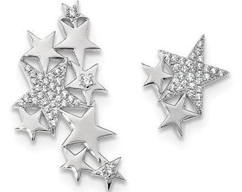Gorgeous Custom Solid Sterling Silver CZ Star Left Climber Earring & Right Ear Star Stud Earring
