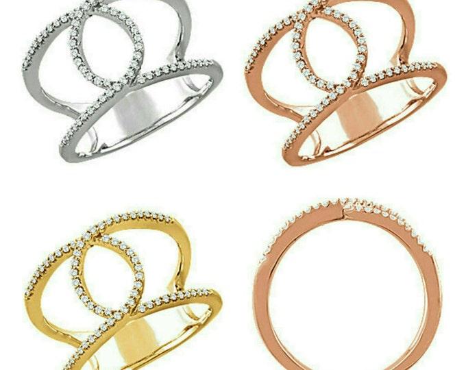 Gorgeous 14 Karat White, Rose or Yellow Gold 1/5 CTW Diamond Interlocking Loop Ring