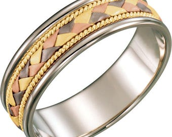 Custom 14 Karat Solid Tri-Color Gold 6mm Hand-Woven Milgrain Band