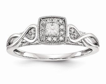 Gorgeous Solid 14 Karat White Gold 1/5 Carat Princess Cut Diamond Engagement Ring