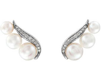 Gorgeous Custom Solid 14 Karat White or Yellow Gold Freshwater Pearl & 1/10 CTW Diamond Ear Climber Earrings
