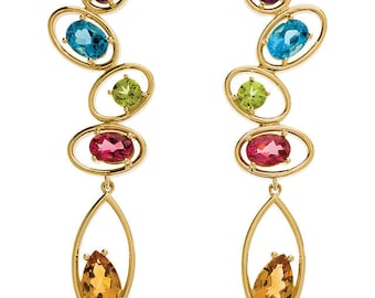 Gorgeous Handcrafted 14 Karat Yellow & White Gold Multi Gemstone Drop Earrings