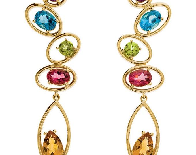 Gorgeous Handcrafted 14 Karat Yellow & White Gold Multi Gemstone Drop Earrings