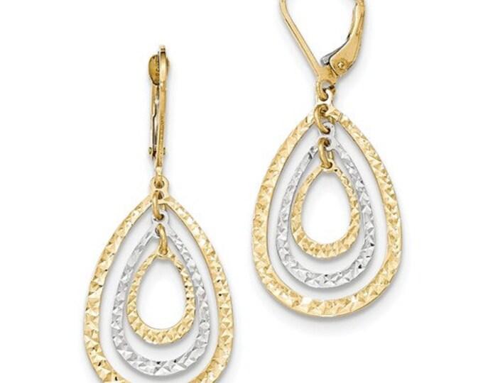 Beautiful 14 Karat Yellow & White Gold Two-tone Diamond Cut Lever back Earrings