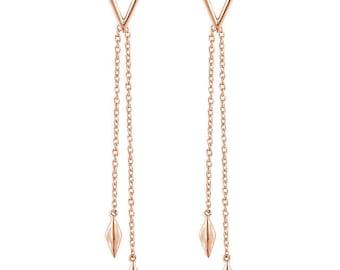 Gorgeous 14 Karat White, Rose or Yellow Gold Geometric Chain Earrings