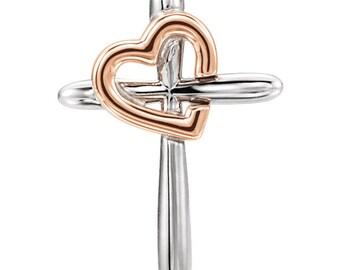 Beautiful 14 Karat White & Rose, Yellow, White or Rose Gold Cross with Heart Pendant