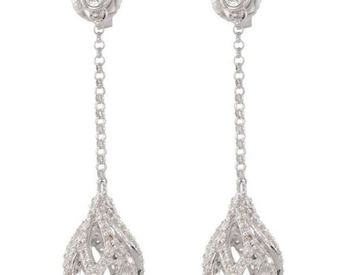 Beautiful 14 Karat White 1.00 CTW Diamond Openwork Chain Drop Dangle Earrings