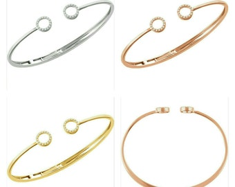 "Beautiful 14 Karat White, Rose Or Yellow Gold 1/6 CTW Diamond Circle Hinged Cuff Bangle 7"" - 8"" Bracelet"
