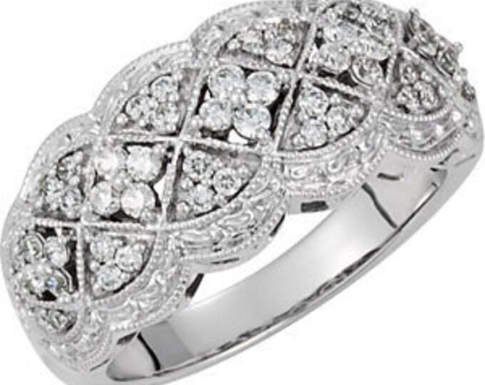 Gorgeous 14 Karat White Gold 1/2 Carat Diamond Anniversary or Wedding Band Ring