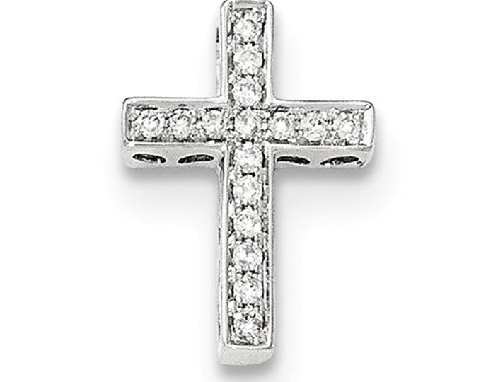 14 Karat White Gold Diamond Cross Slide Pendant.