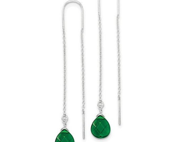 Gorgeous 925 Sterling Silver Pear Shaped Dark Green CZ Threader Earrings