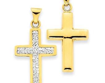 14 Karat Yellow Gold Reversible Swarovski Crystal Elements Latin Cross Pendant.