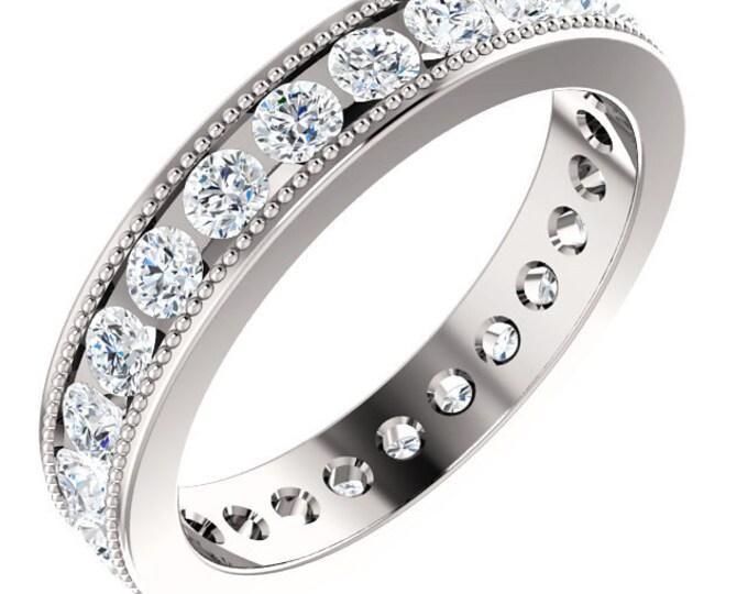 Gorgeous 14 Karat Gold 1.50 Carat Diamond Milgrain Eternity Wedding Band