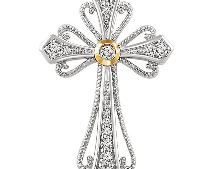 14kt White & Yellow 1/6 CTW Diamond Cross Pendant