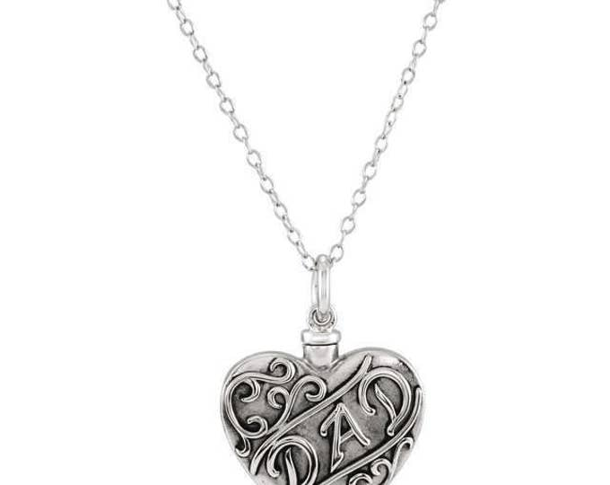 "925 Sterling Silver ""Dad"" or ""Mom"" Heart Ash Holder Pendant & 18"" Necklace"